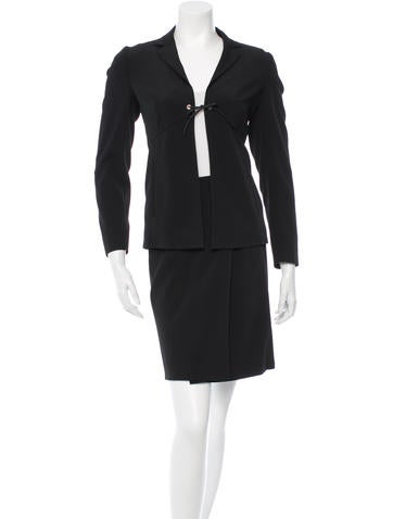 Prada Two Piece Wrap Skirt Suit None