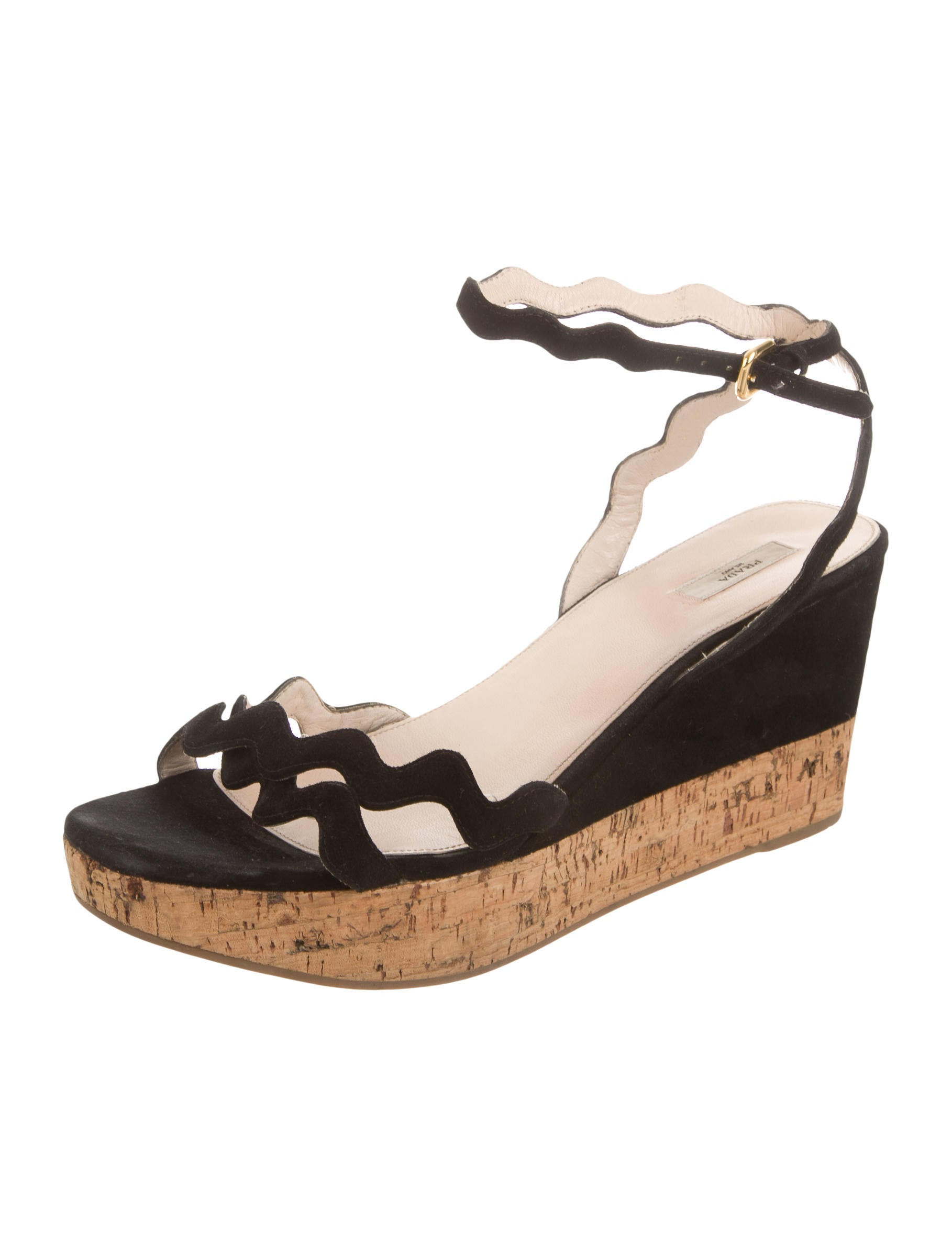 prada suede wedge sandals shoes pra114656 the realreal