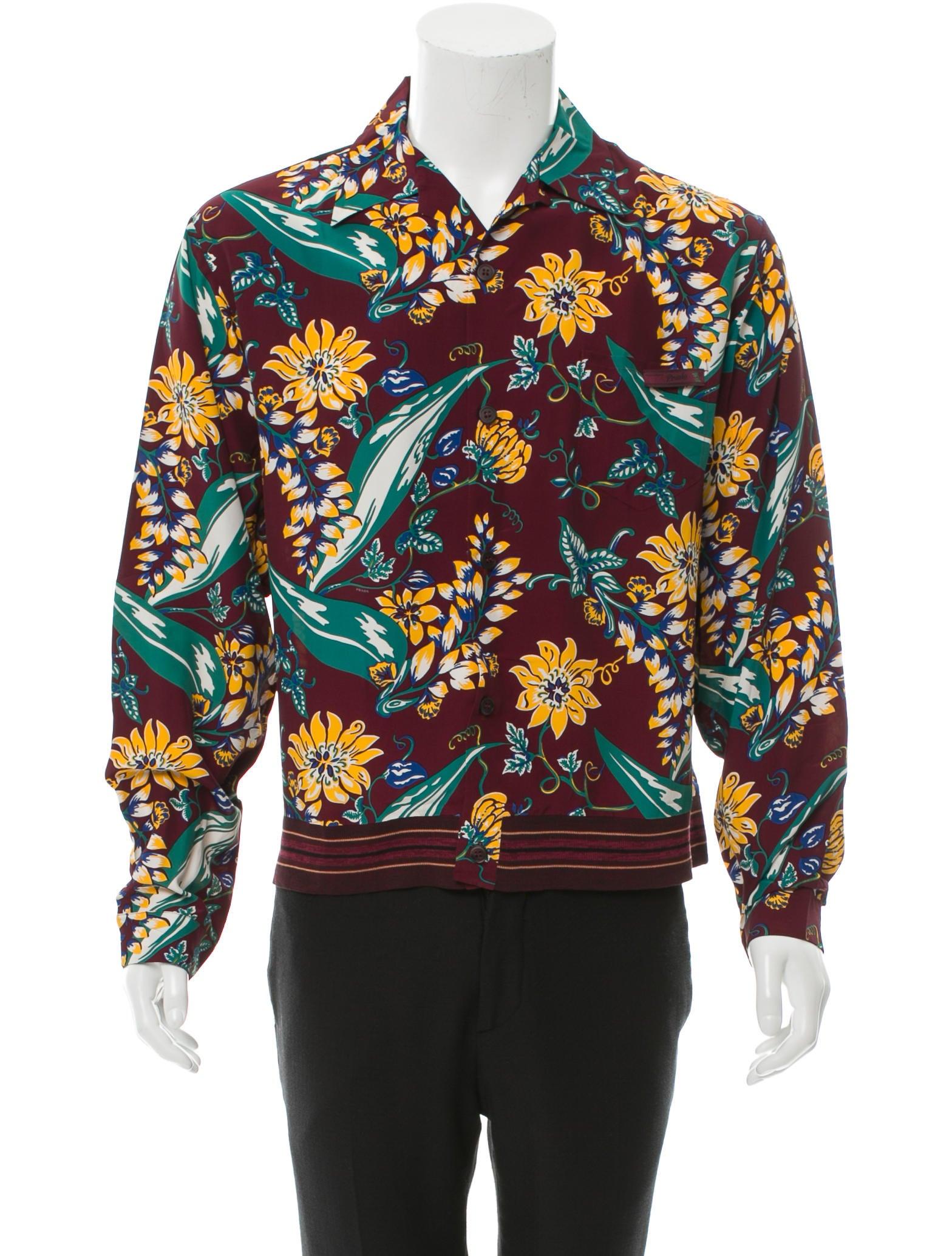Prada floral print button up shirt clothing pra114747 for Floral print button up shirt