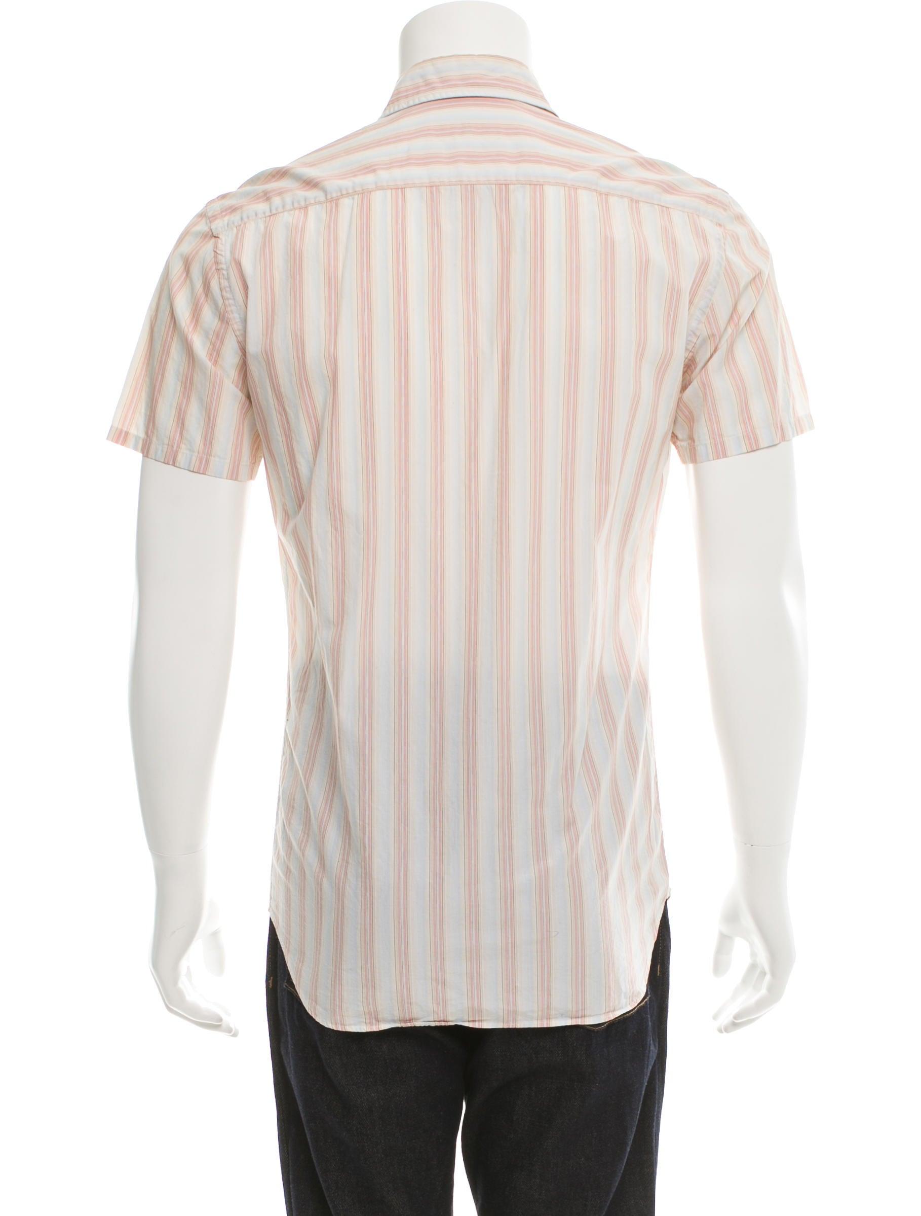 Prada striped button up shirt clothing pra114748 the for Striped button up shirt mens