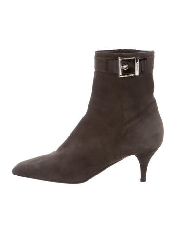 Prada Suede Pointed-Toe Booties None