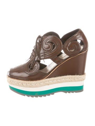 Prada Laser Cut Espadrille Wedges None