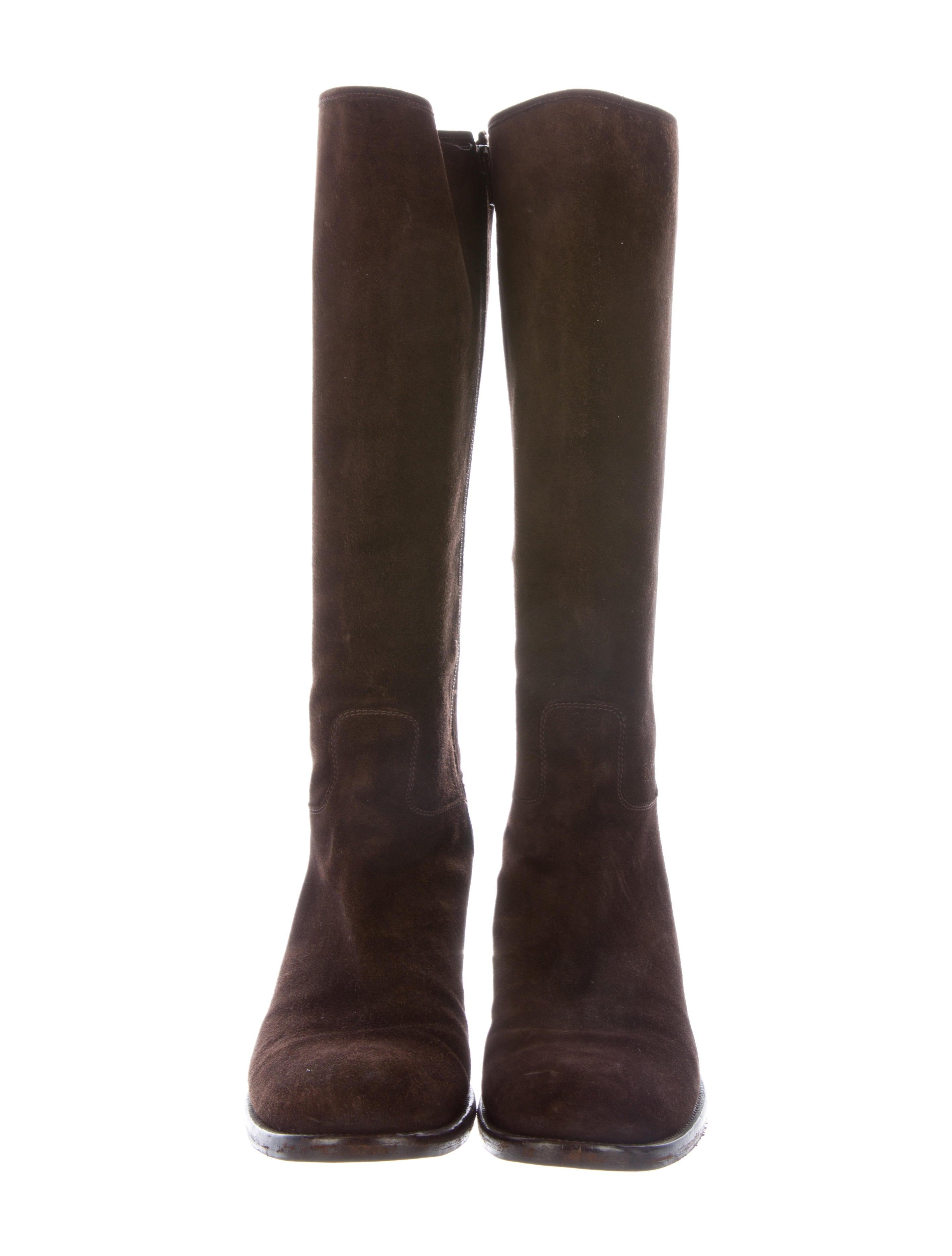 prada suede knee high boots shoes pra115089 the realreal
