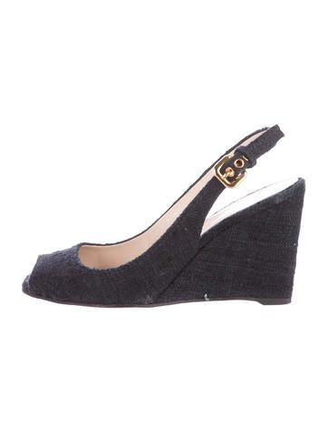 Prada Tweed Peep-Toe Pumps None