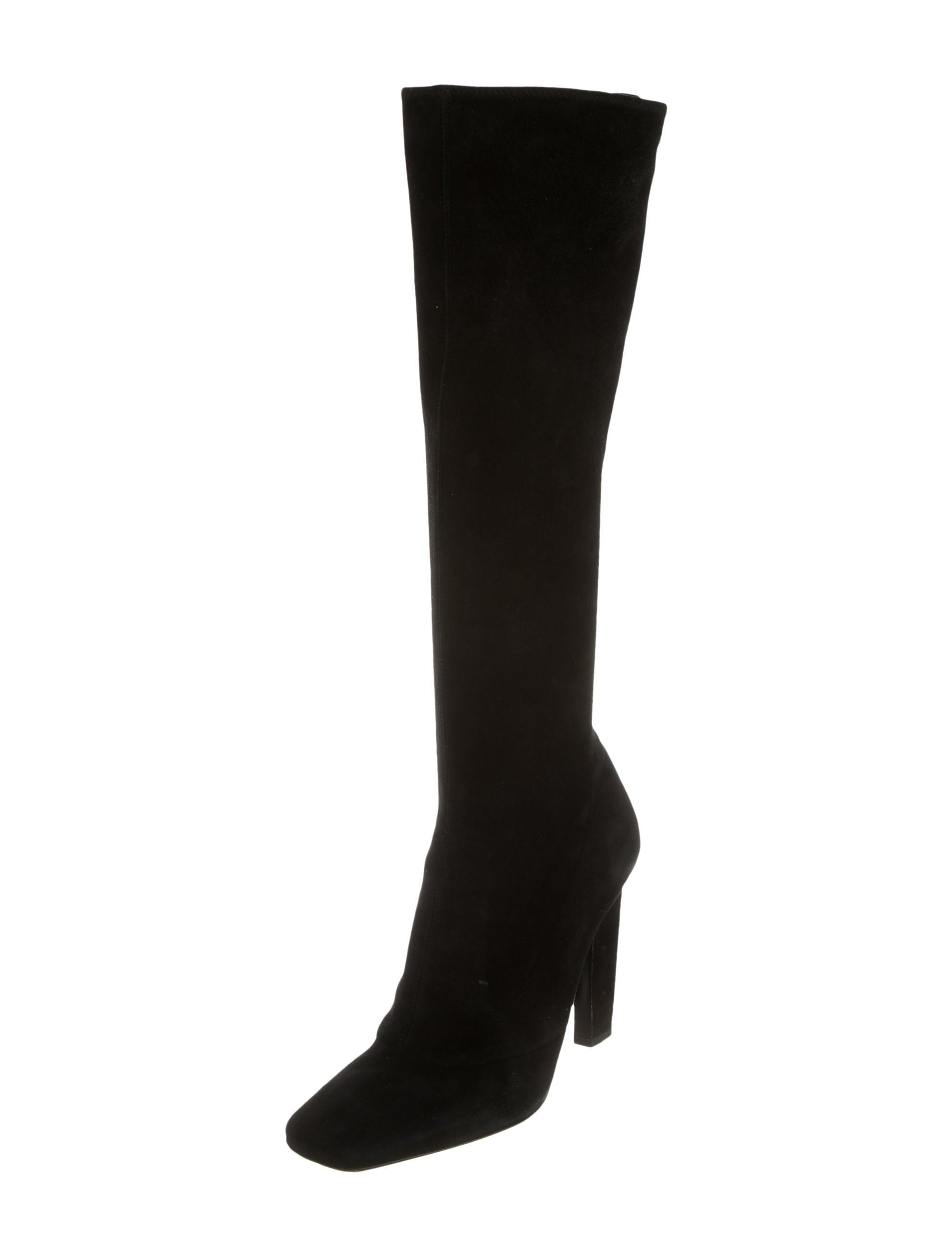 prada suede knee high boots shoes pra117008 the realreal