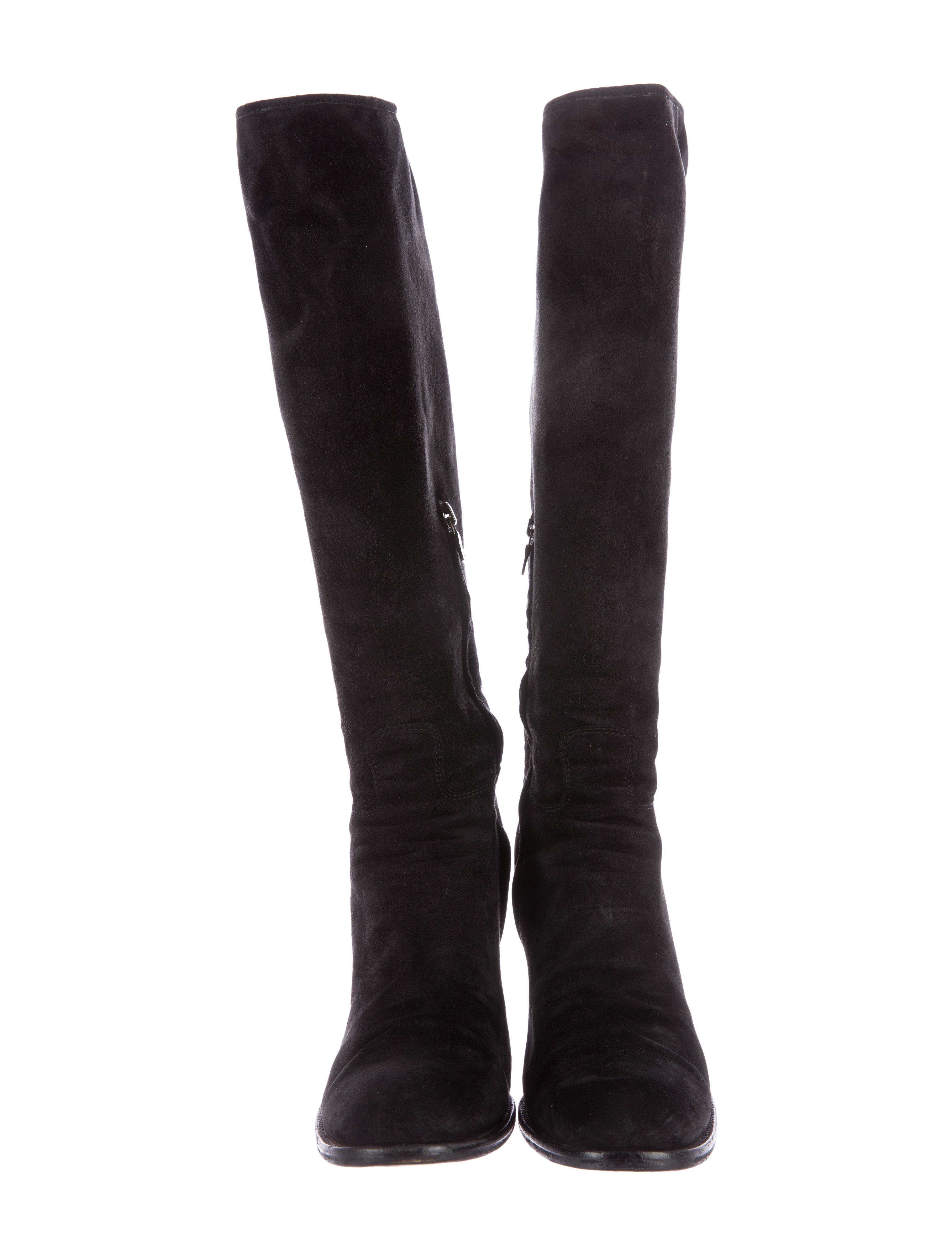 prada suede knee high boots shoes pra117176 the realreal