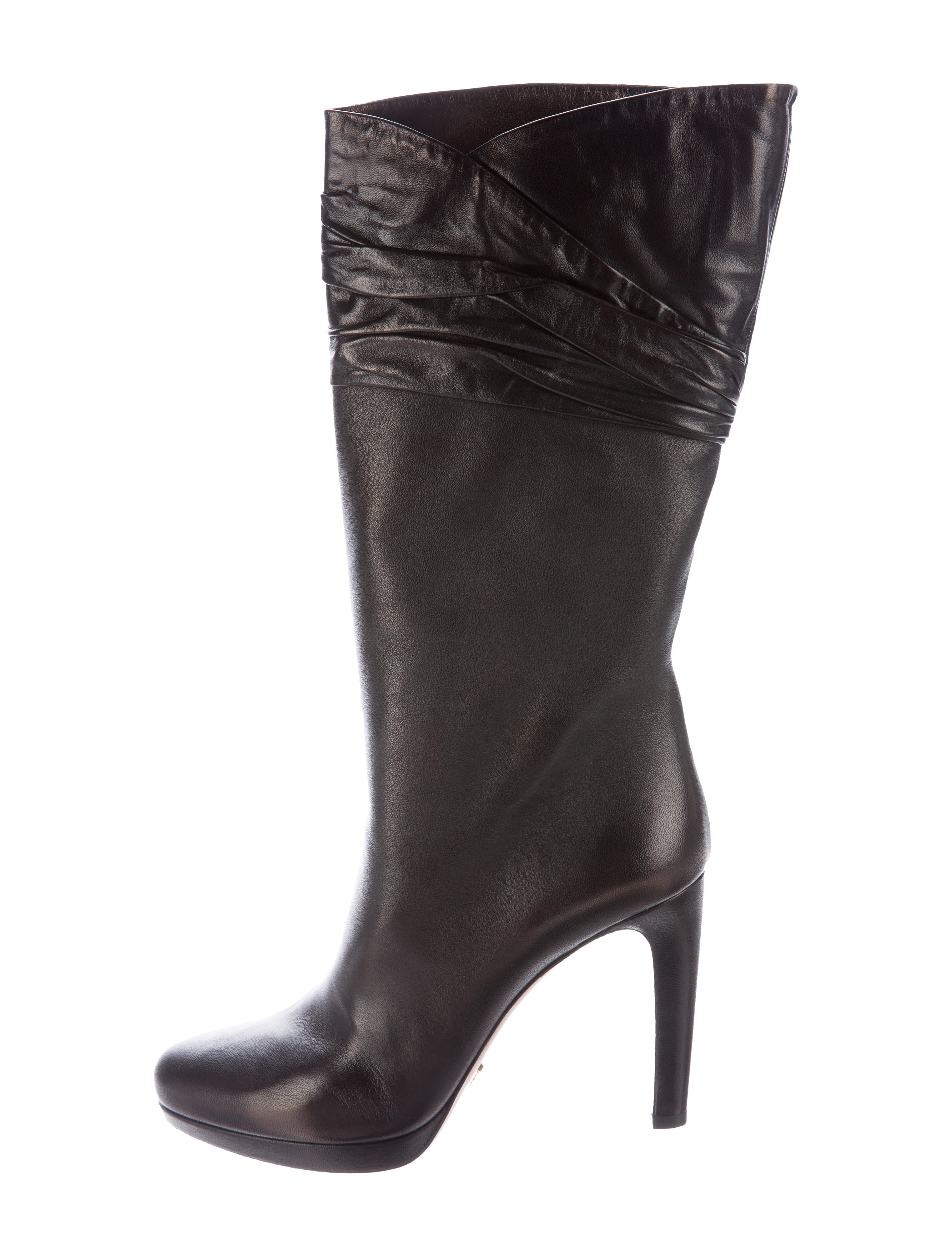 prada leather knee high boots shoes pra117377 the