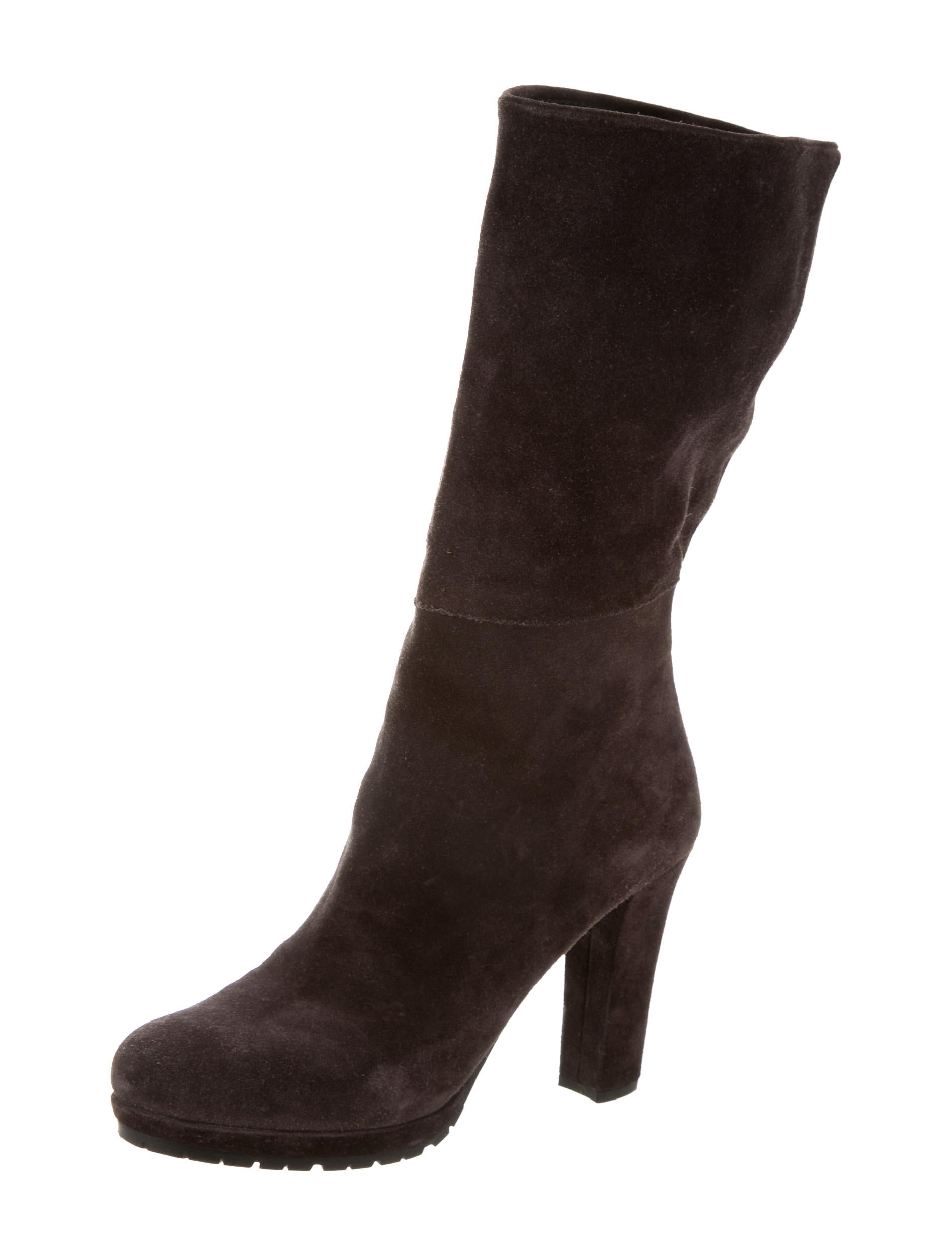 prada suede mid calf boots shoes pra117528 the realreal