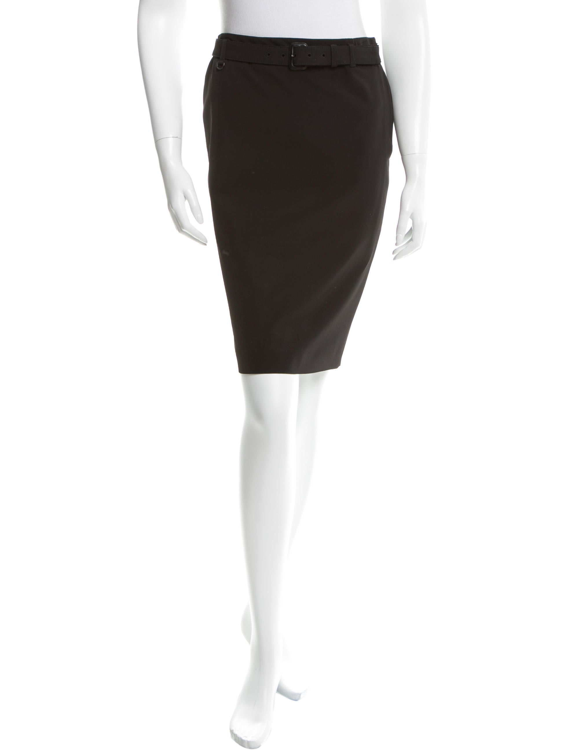 prada belted pencil skirt clothing pra117532 the