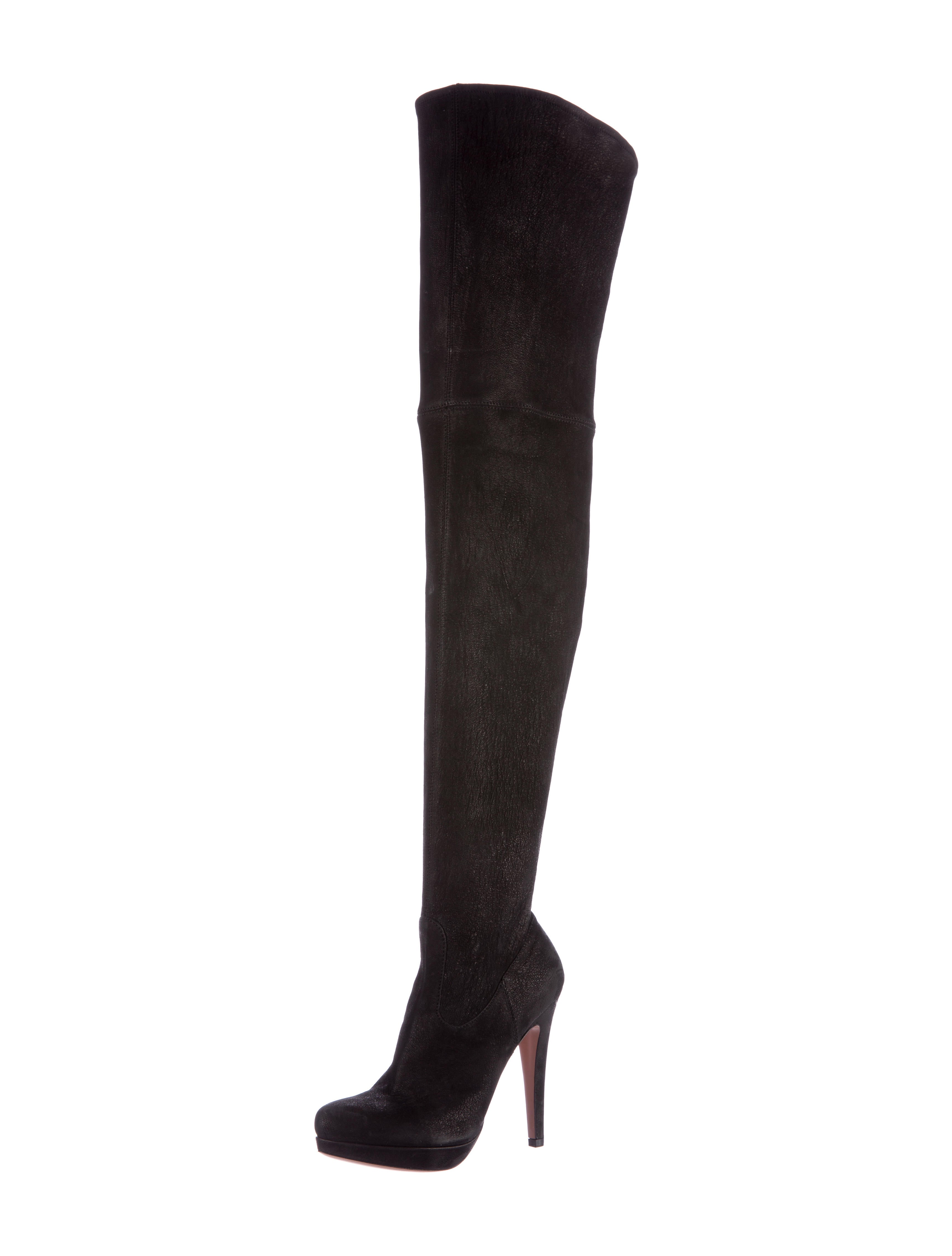 prada leather thigh high boots shoes pra117540 the
