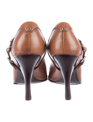 Buckle-Accented Leather Pumps