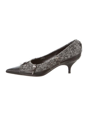 Prada Felt Leather-Trimmed Pumps