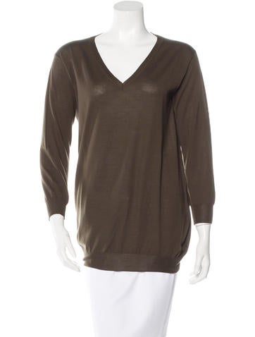 Prada Long Sleeve V-Neck Sweater None