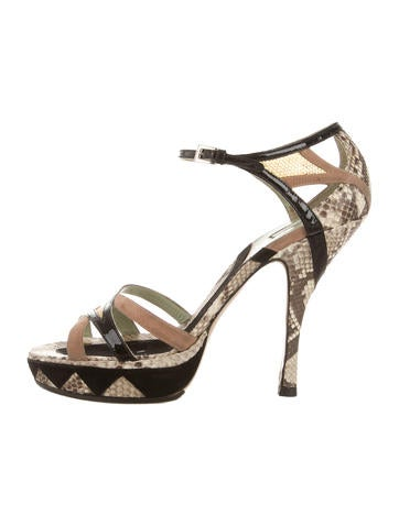 Prada Snakeskin Platform Sandals None