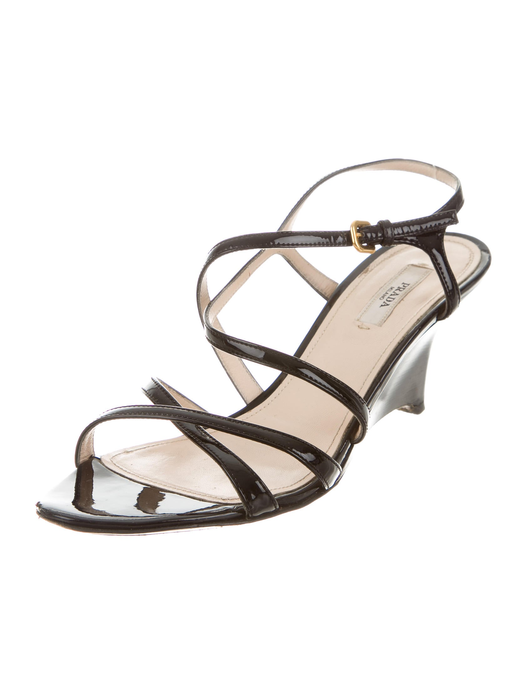 prada patent leather wedge sandals shoes pra118572