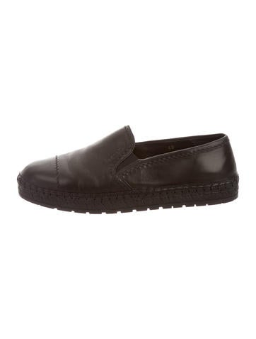 Prada Leather Round-Toe Espadrilles None