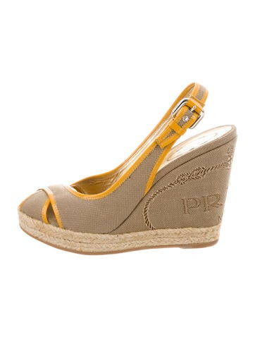 Prada Canvas Peep-Toe Wedges None
