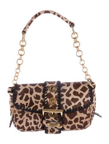 Prada Ponyhair Print Shoulder Bag
