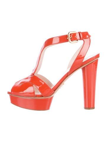 Prada Patent Platform Sandals None