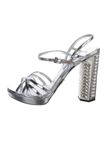 Prada Patent Crystal-Embellished Sandals None
