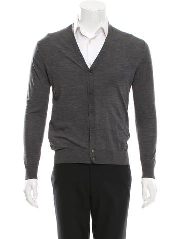 Prada Wool Rib Knit-Trimmed Cardigan None