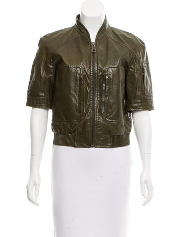 Prada Sport Short Sleeve Leather Jacket
