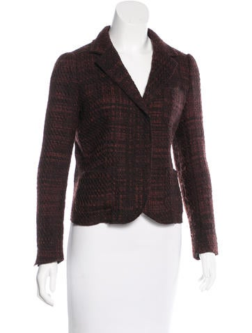 Prada Tweed Notch-Lapel Blazer