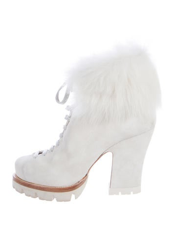 Fur-Trimmed Suede Ankle Boots