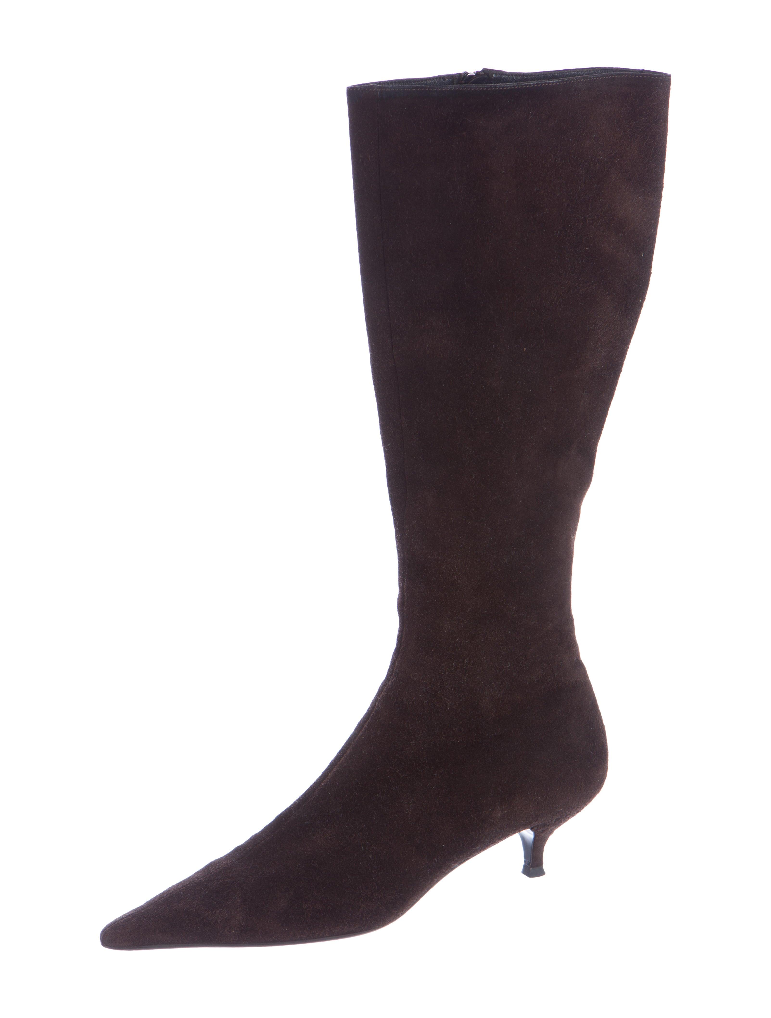 prada suede knee high boots shoes pra120140 the realreal