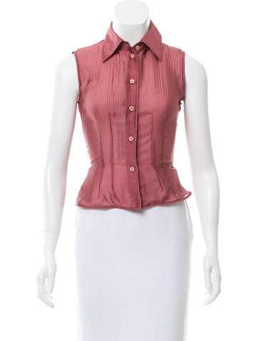 Prada Silk Sleeveless Top None