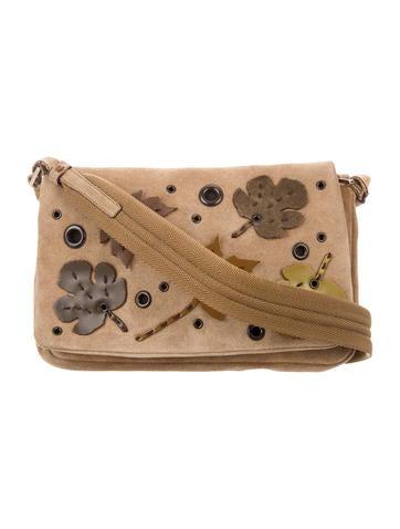 Prada Appliqué & Grommet-Trimmed Suede Bag
