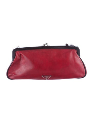 Leather Kiss Lock Clutch