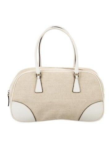 Prada Canapa & Cinghiale Leather Handle Bag