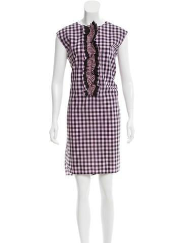 Prada Ruffle-Trimmed Gingham Dress None
