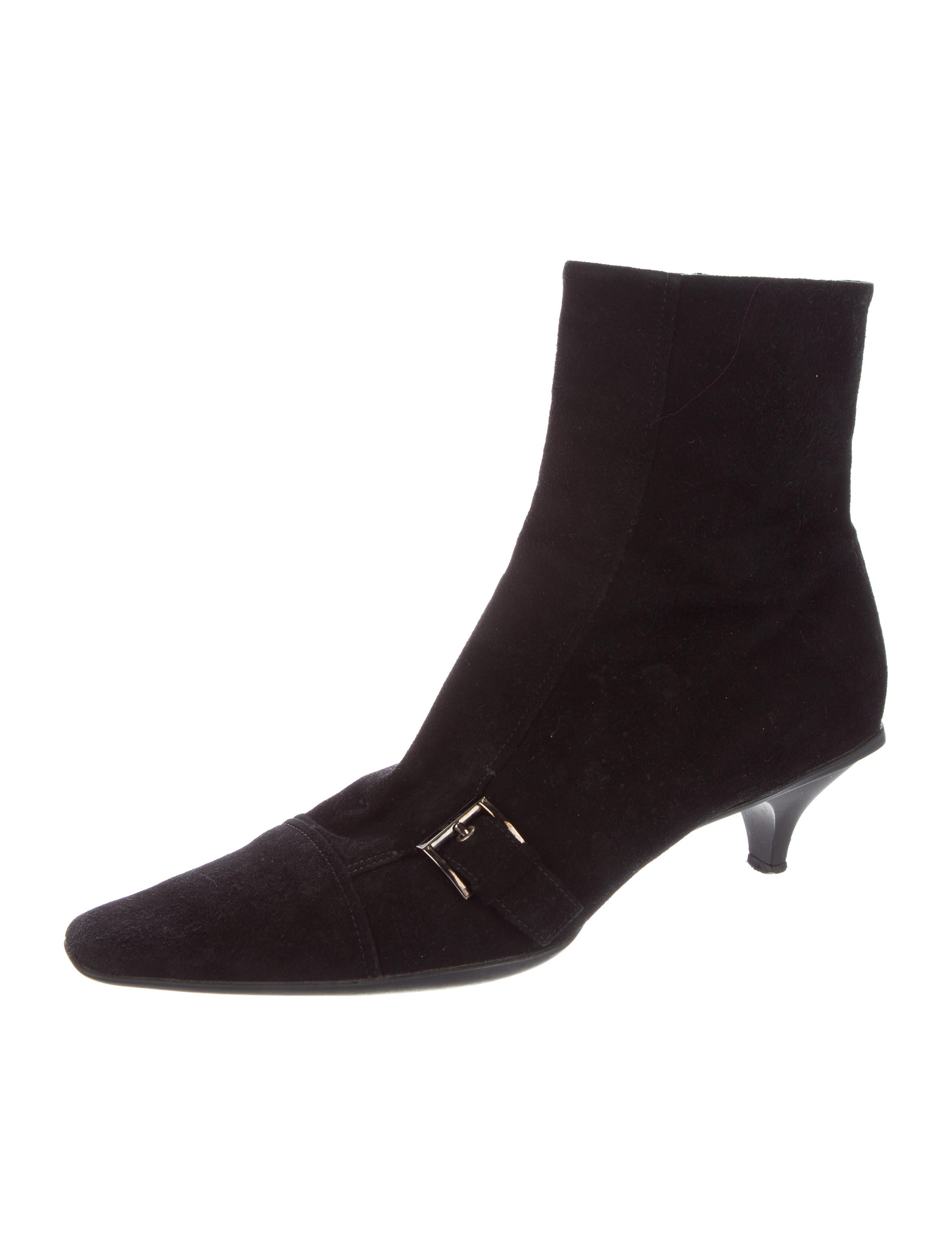 prada buckle embellished suede ankle boots shoes
