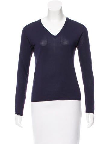 Prada Silk V-Neck Sweater None