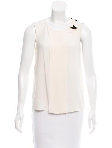 Prada Bow-Accented Silk Top None