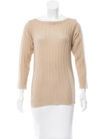 Prada Rib Knit Bateau-Neck Sweater None