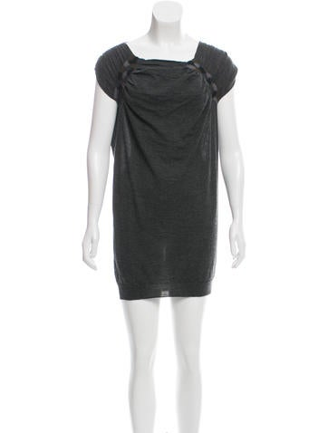 Prada Wool Cap Sleeve Dress None