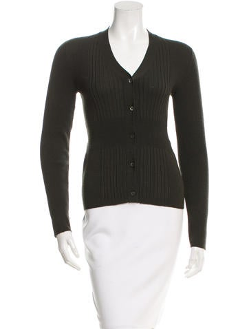 Prada Rib Knit Button-Up Cardigan None