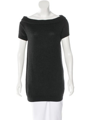 Prada Rib Knit Short Sleeve Sweater None