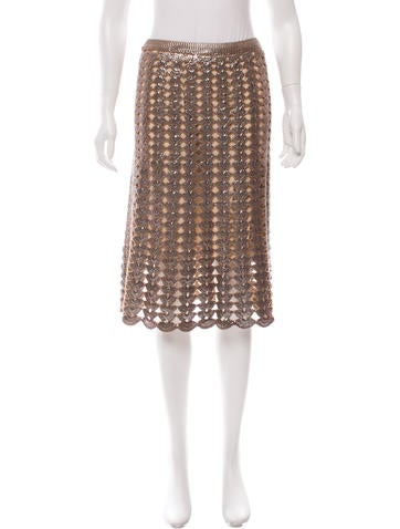 Prada Metallic Wool Skirt w/ Tags None