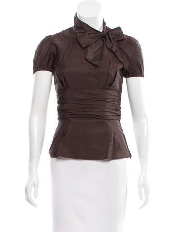 Prada Silk Tie-Accented Top None