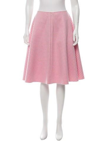 Prada Virgin Wool Gingham Skirt