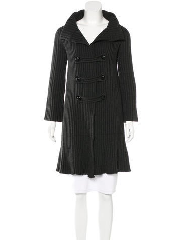 Prada Virgin Wool Rib Knit Cardigan None