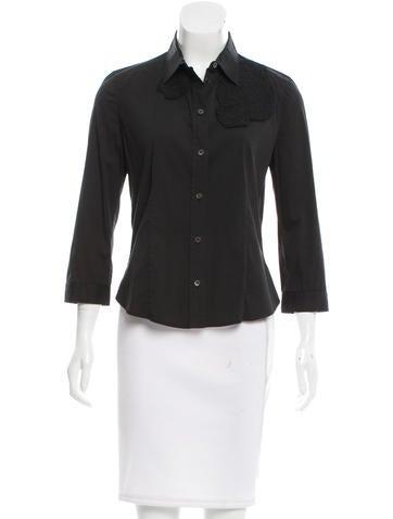 Prada Three-Quarter Sleeve Button-Up Top None