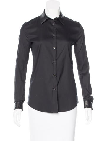 Prada Leather-Trimmed Button-Up Top None