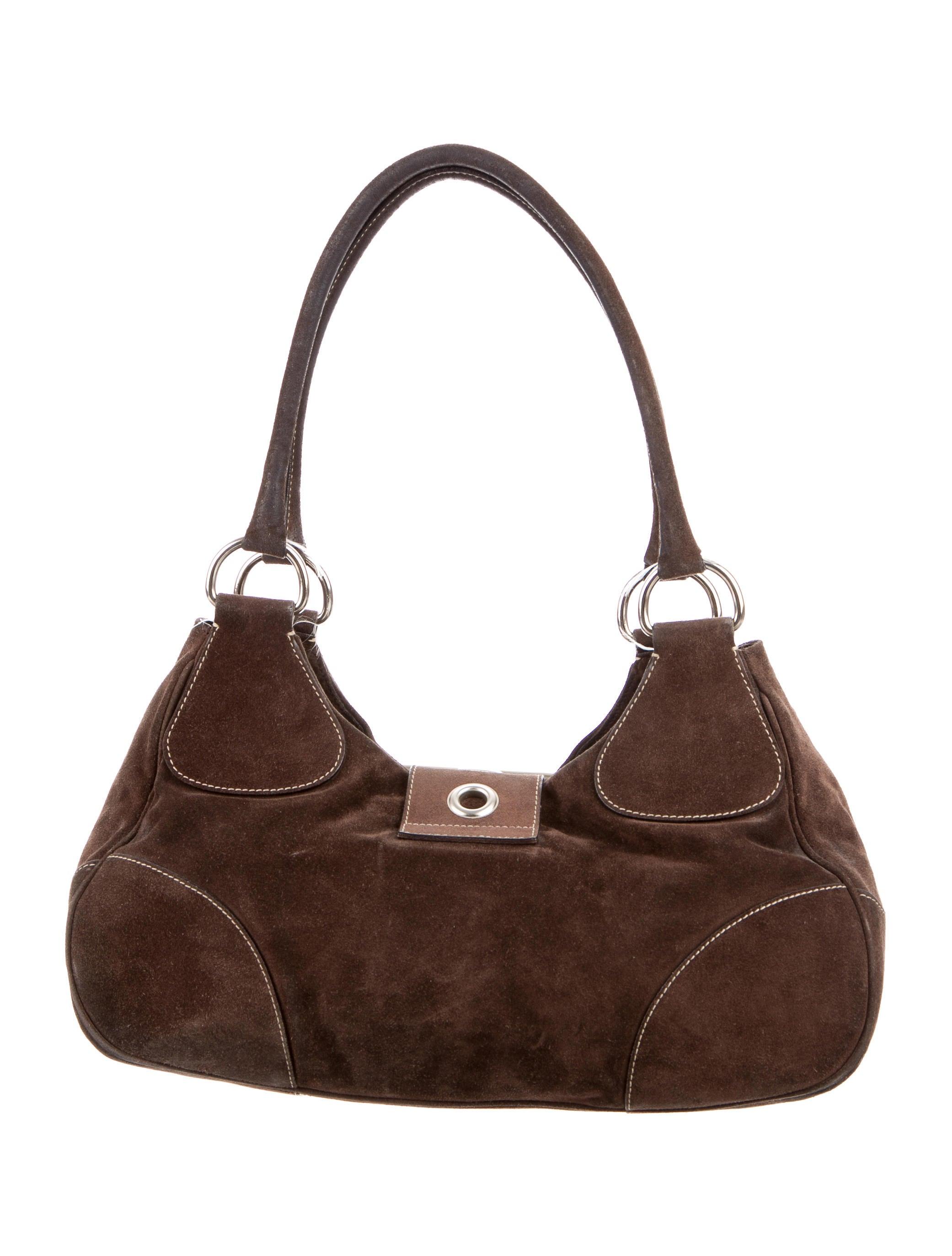 Prada Scamosciato Suede Shoulder Bag - Handbags - PRA124420  642e4d2ab6fb4