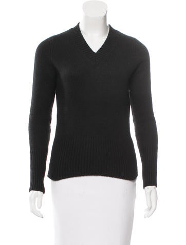 Prada V-Neck Alpaca Sweater None