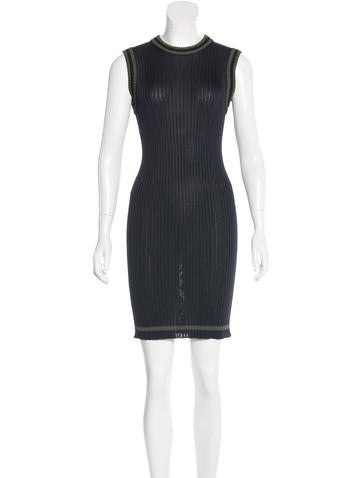 Prada Sleeveless Rib Knit Dress None